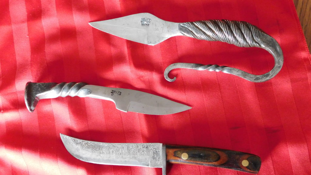 Cable, Railroad spike and Damascus blades